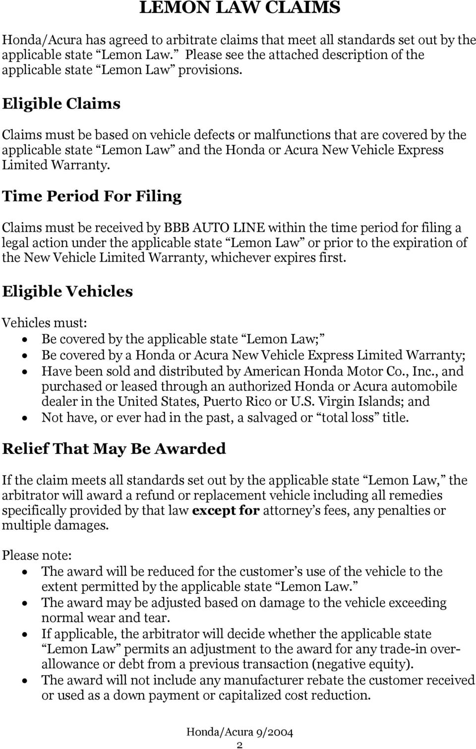 Eligible Claims Must Be Based On Vehicle Defects Or Malfunctions That Are Covered By The