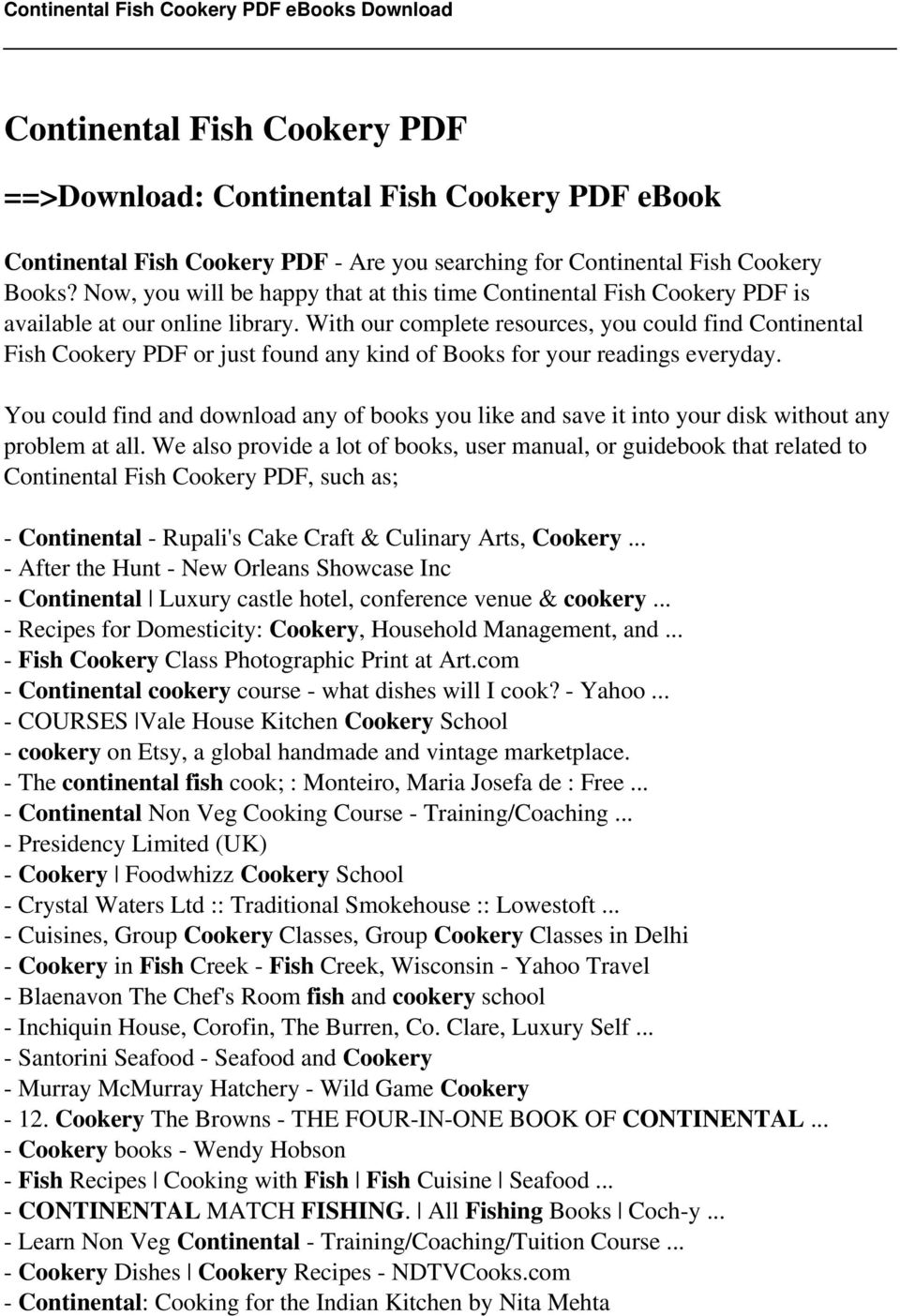 Continental fish cookery pdf pdf with our complete resources you could find continental fish cookery pdf or just found any fandeluxe Gallery