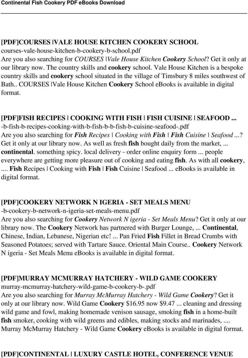 Continental fish cookery pdf pdf courses vale house kitchen cookery school ebooks is available in digital format pdf fandeluxe Gallery