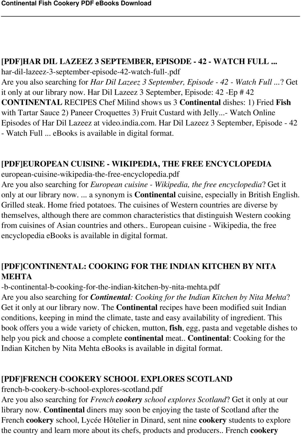 Continental fish cookery pdf pdf har dil lazeez 3 september episode 42 ep 42 continental recipes chef fandeluxe Gallery