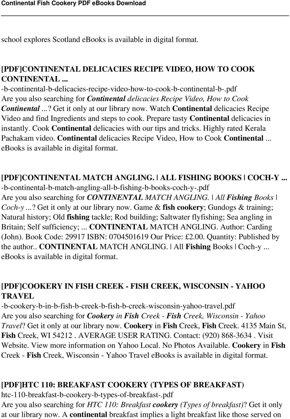 Continental fish cookery pdf pdf watch continental delicacies recipe video and find ingredients and steps to cook prepare tasty continental fandeluxe Gallery