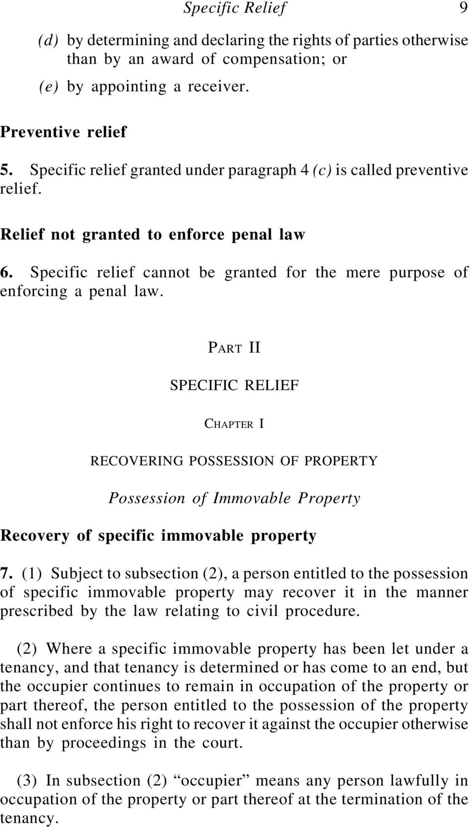 recovery of possession of immovable property