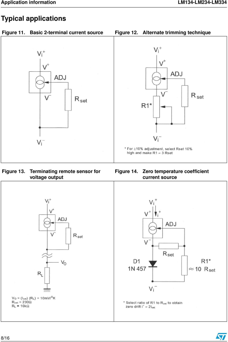 Lm134 Lm234 Lm334 Three Terminal Adjustable Current Sources Bta41 600b Datasheet Application Note Electronic Circuit Projects Alternate Trimming Technique Figure 13