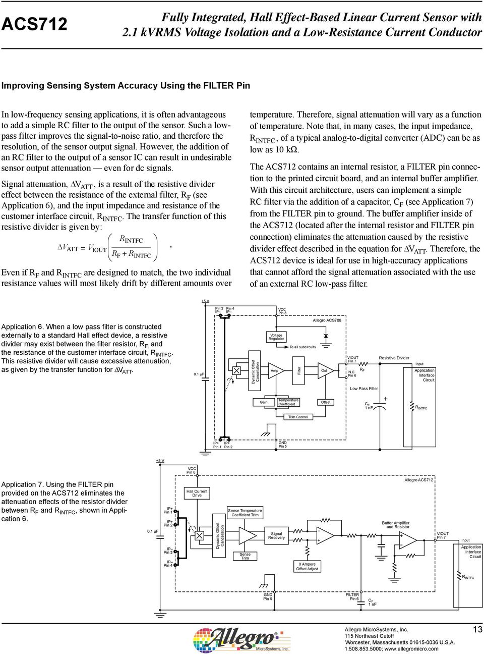 Typical Application 5 V Vcc 2 Out Acs712 Filter 4 Ip Gnd C F 1 Hall Effect Sensor Wiring Details Image However The Addition Of An Rc To Output A Ic Can