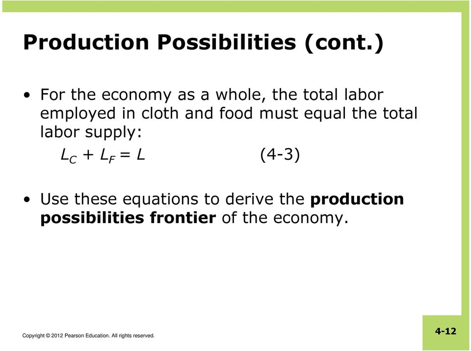 cloth and food must equal the total labor supply: L C + L F =