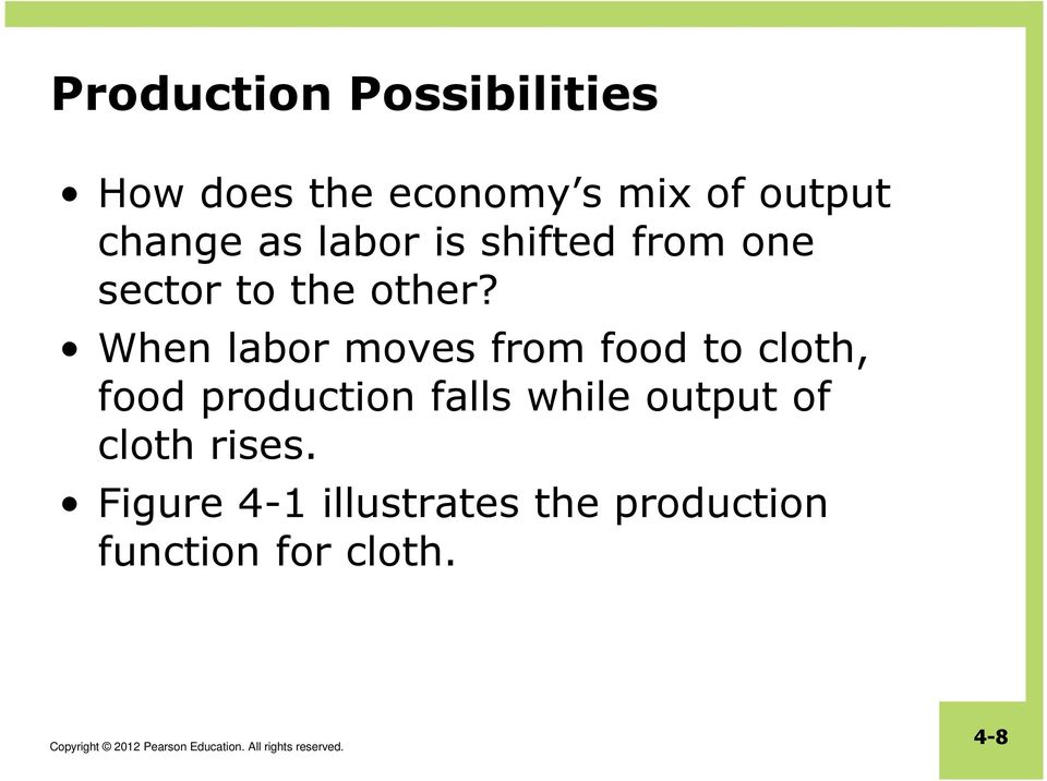 When labor moves from food to cloth, food production falls while