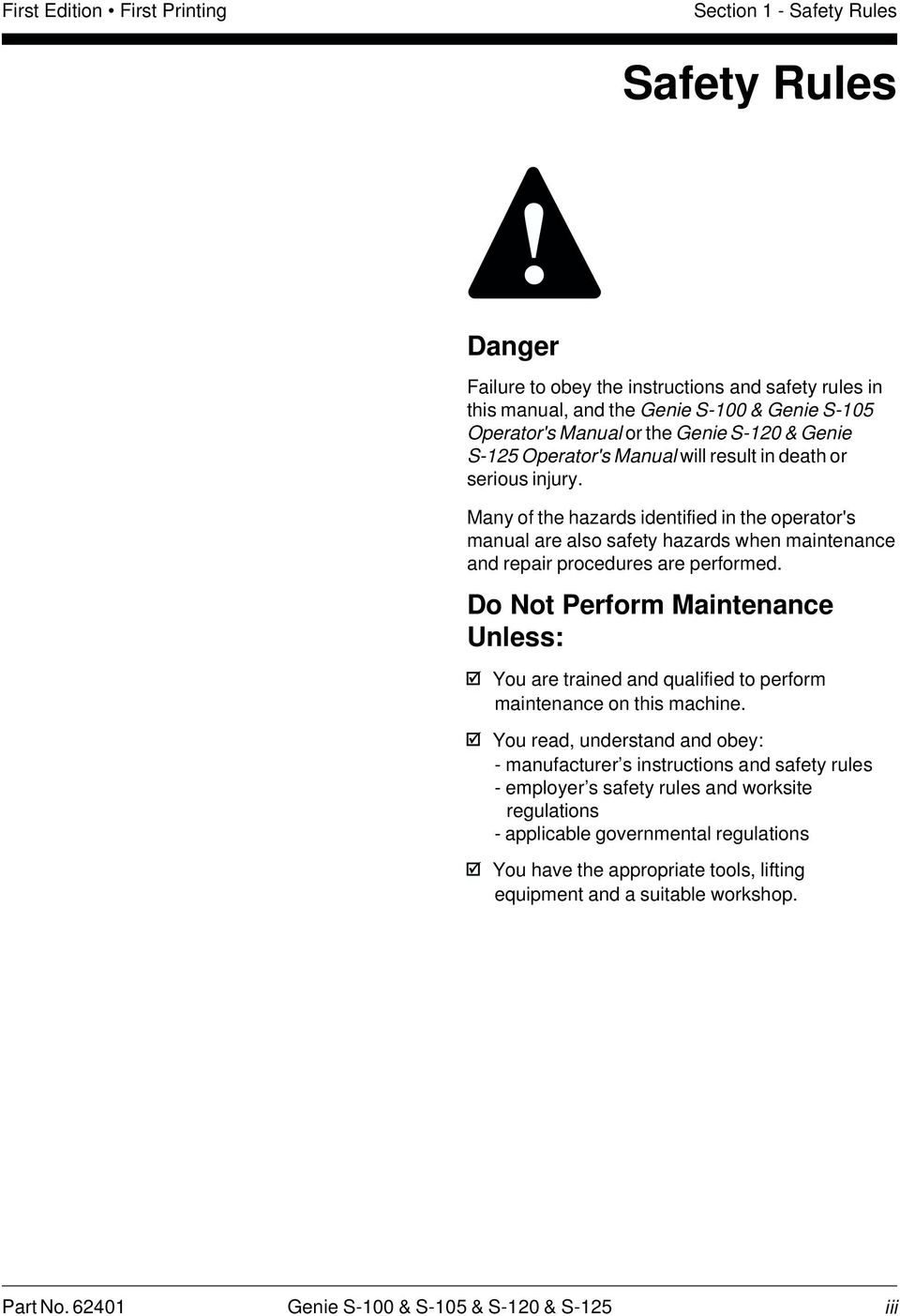 Service Manual Part No Rev A1 October Pdf Genie S 40 Wiring Diagram Many Of The Hazards Identified In Operators Are Also Safety When Maintenance And