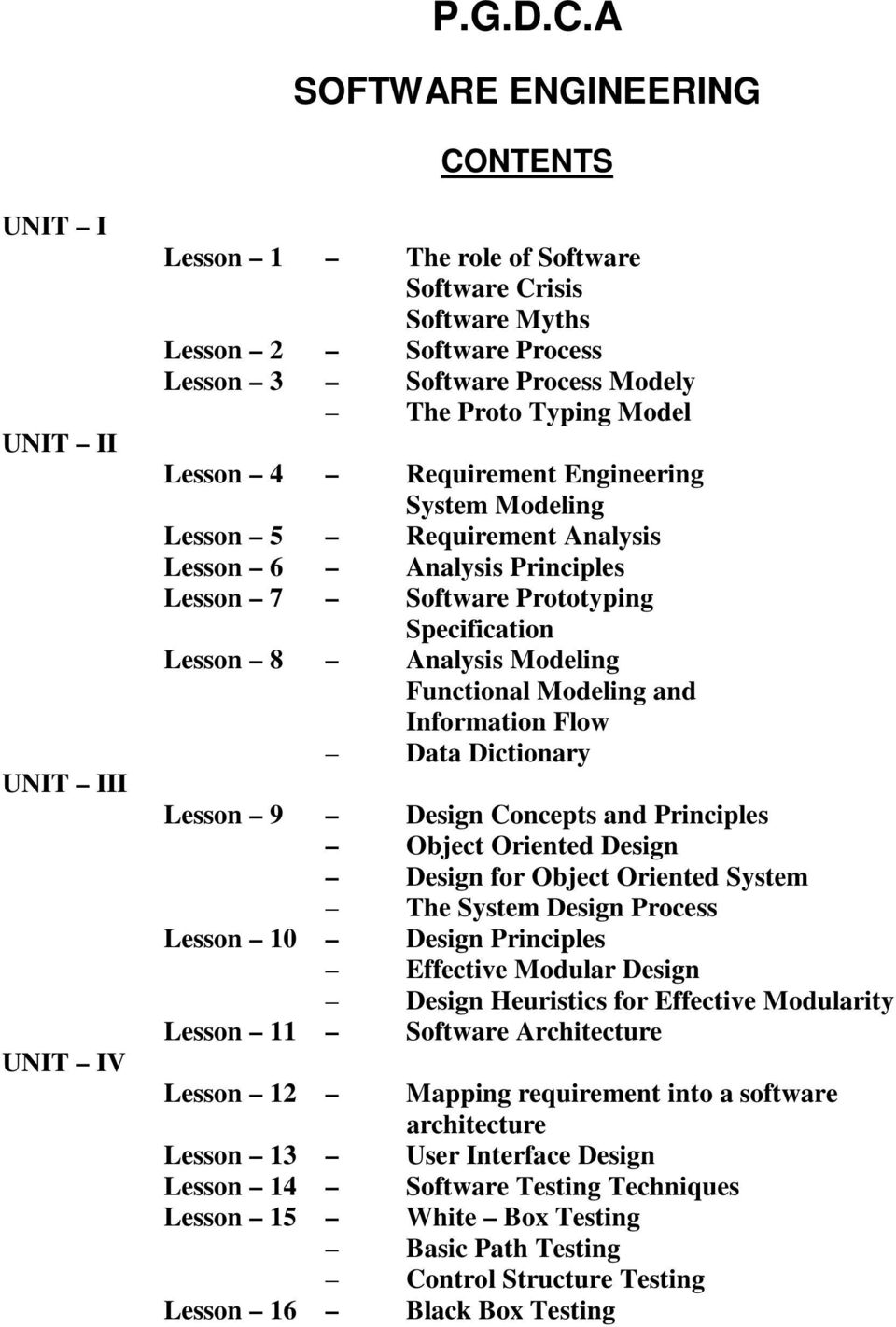 P G D C A Software Engineering Contents Pdf Free Download