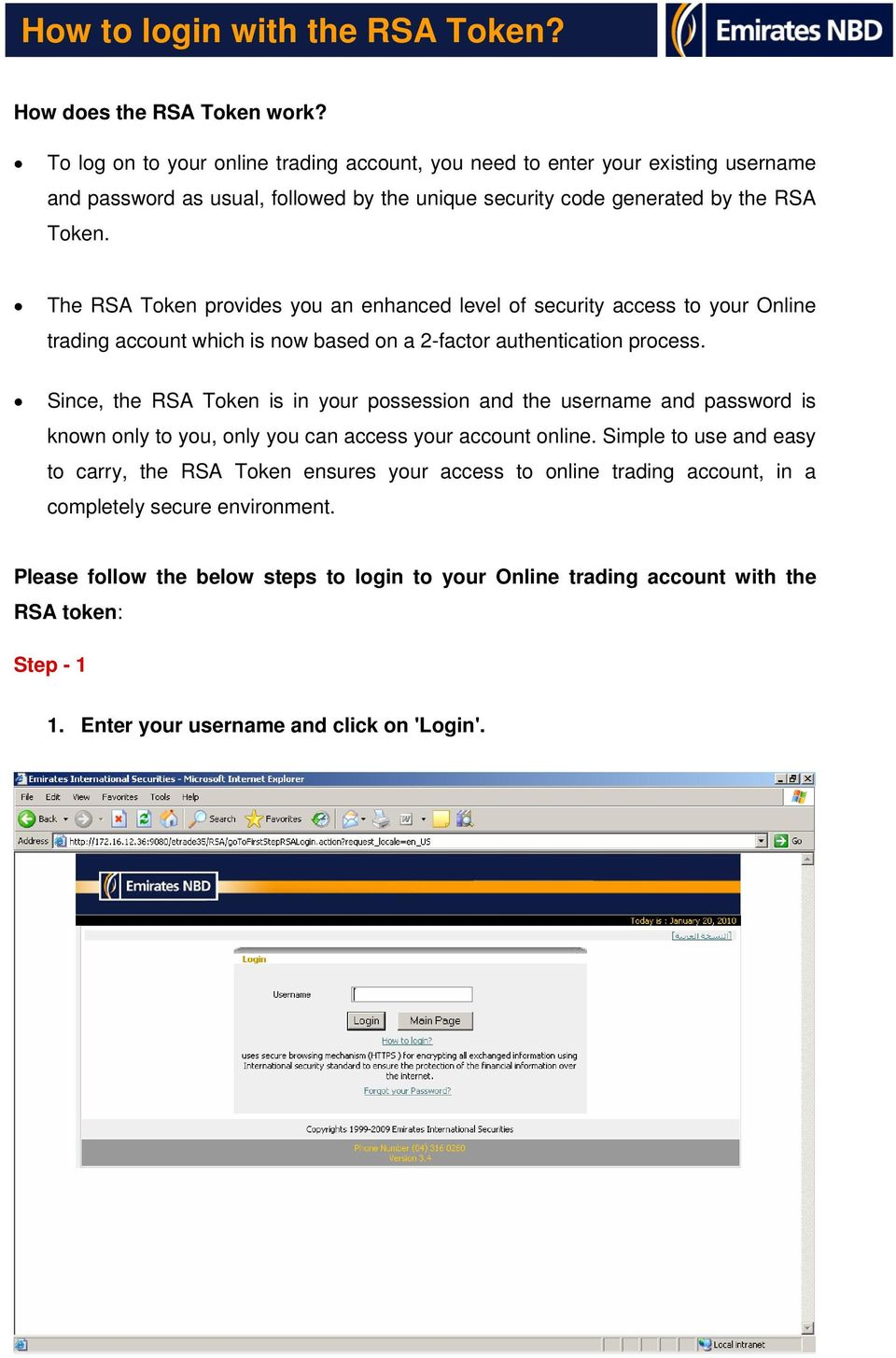 How to login with the RSA Token? - PDF
