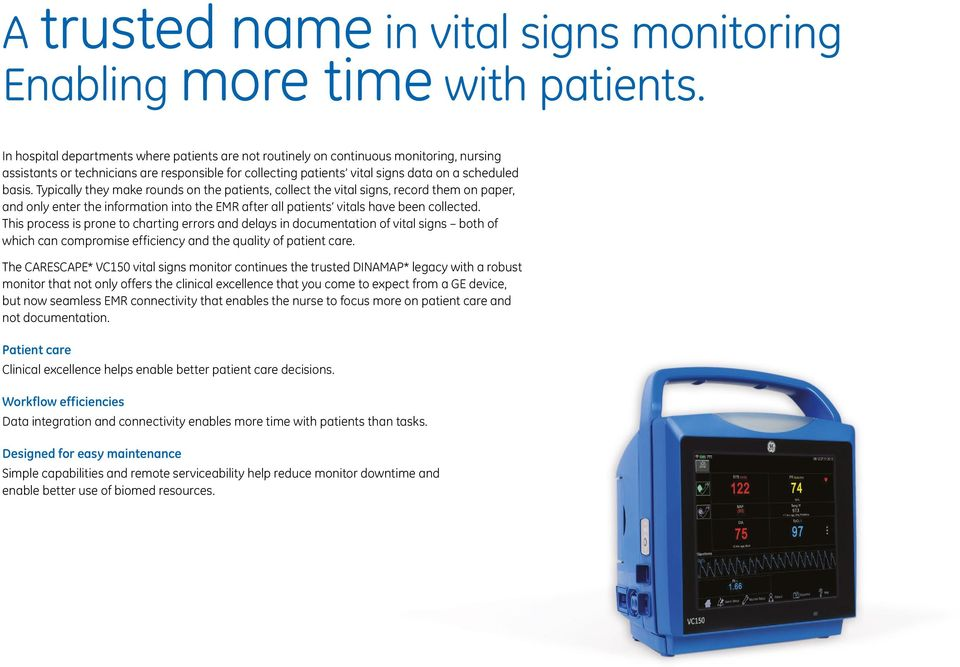 CARESCAPE VC150 Vital Signs Monitor  Connecting intelligence and