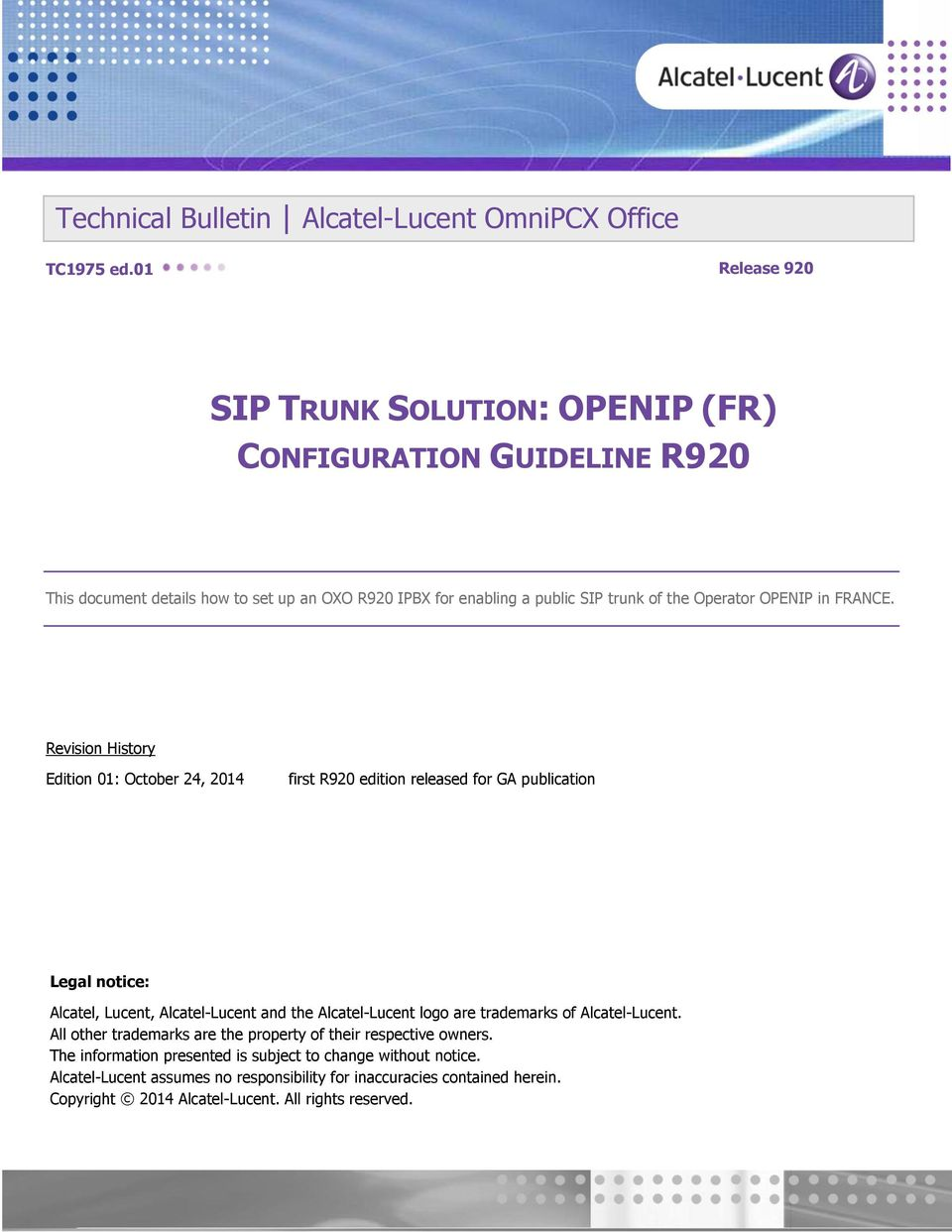 SIP TRUNK SOLUTION: OPENIP (FR) CONFIGURATION GUIDELINE R920 - PDF