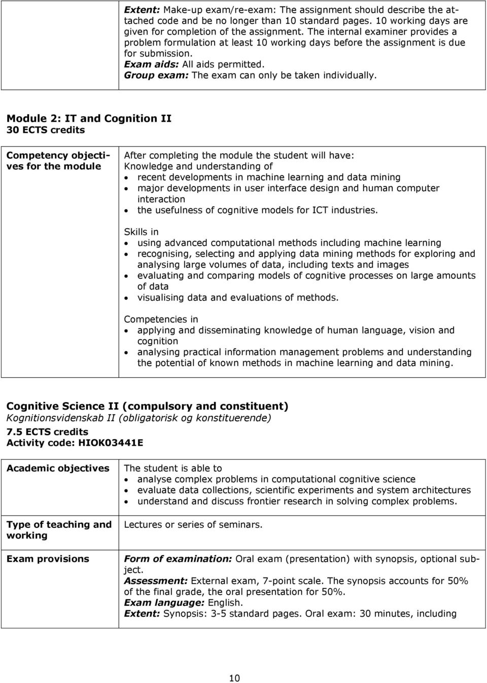 Module 2: IT and Cognition II 30 ECTS credits Competency objectives for the module After completing the module the student will have: Knowledge and understanding of recent developments in machine