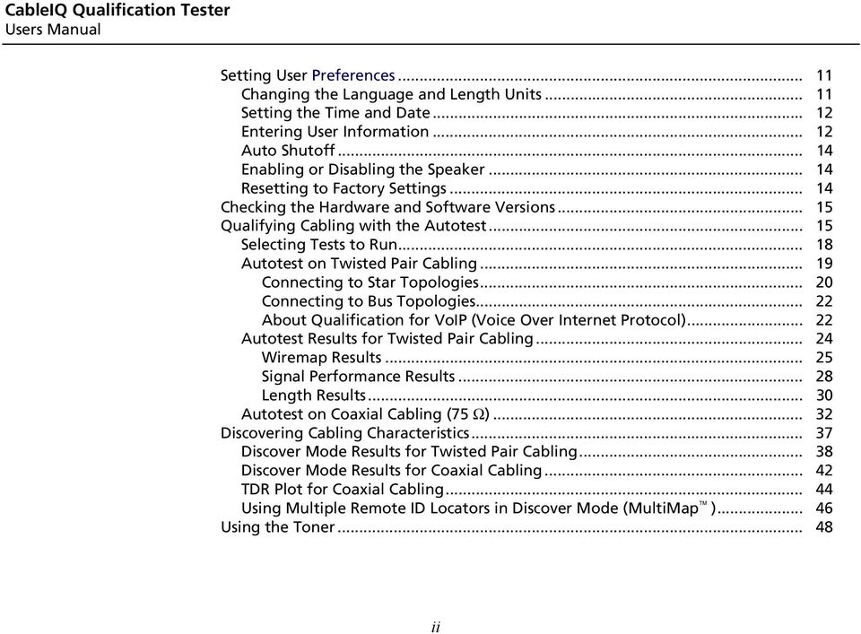 CableIQTM  Users Manual  Qualification Tester - PDF