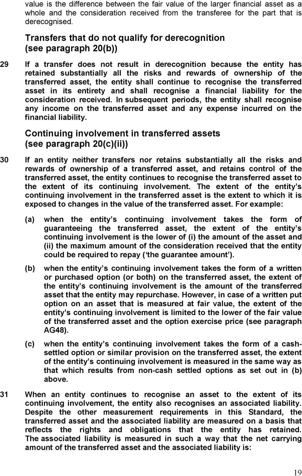 ownership of the transferred asset, the entity shall continue to recognise the transferred asset in its entirety and shall recognise a financial liability for the consideration received.