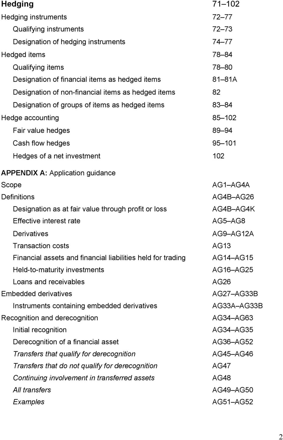 net investment 102 APPENDIX A: Application guidance Scope Definitions Designation as at fair value through profit or loss Effective interest rate Derivatives Transaction costs Financial assets and