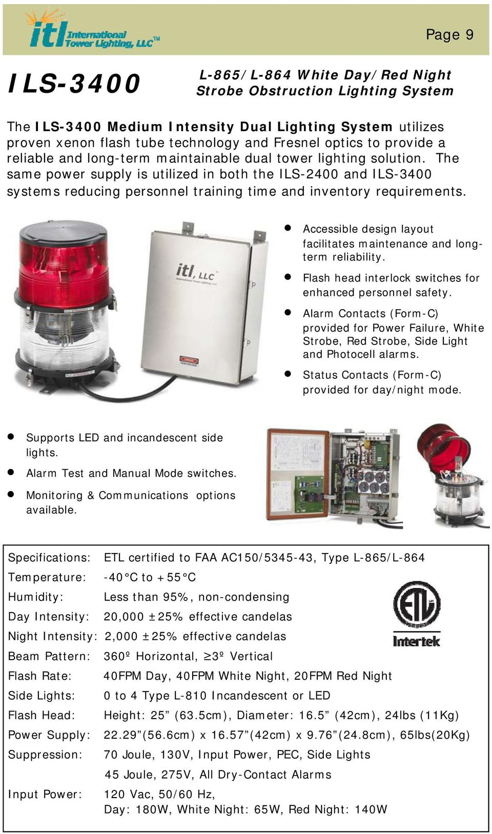 Monitoring Obstruction Lighting Parts And Service Pdf Flasher Flaser Sen 12 Volt Universal The Same Power Supply Is Utilized In Both Ils 2400 3400