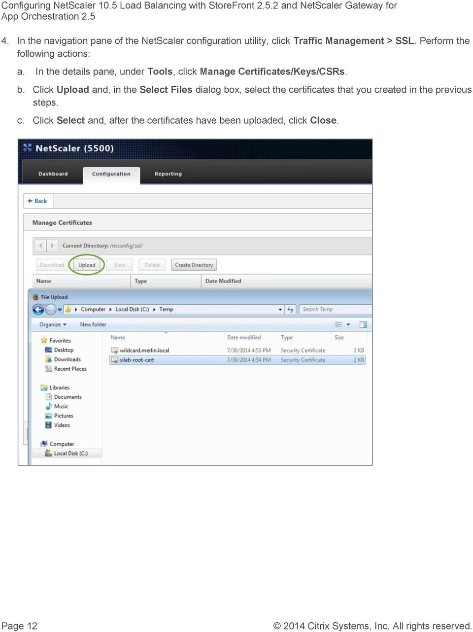 In the details pane, under Tools, click Manage Certificates/Keys/CSRs. b.