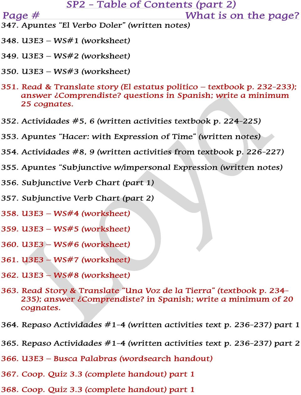 sp2 table of contents part 2 what is on the page 205 cover