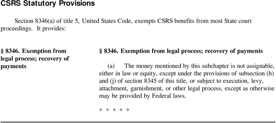 Exemption from legal process; recovery of payments (a) The money mentioned by this subchapter is not assignable, either in law or equity,