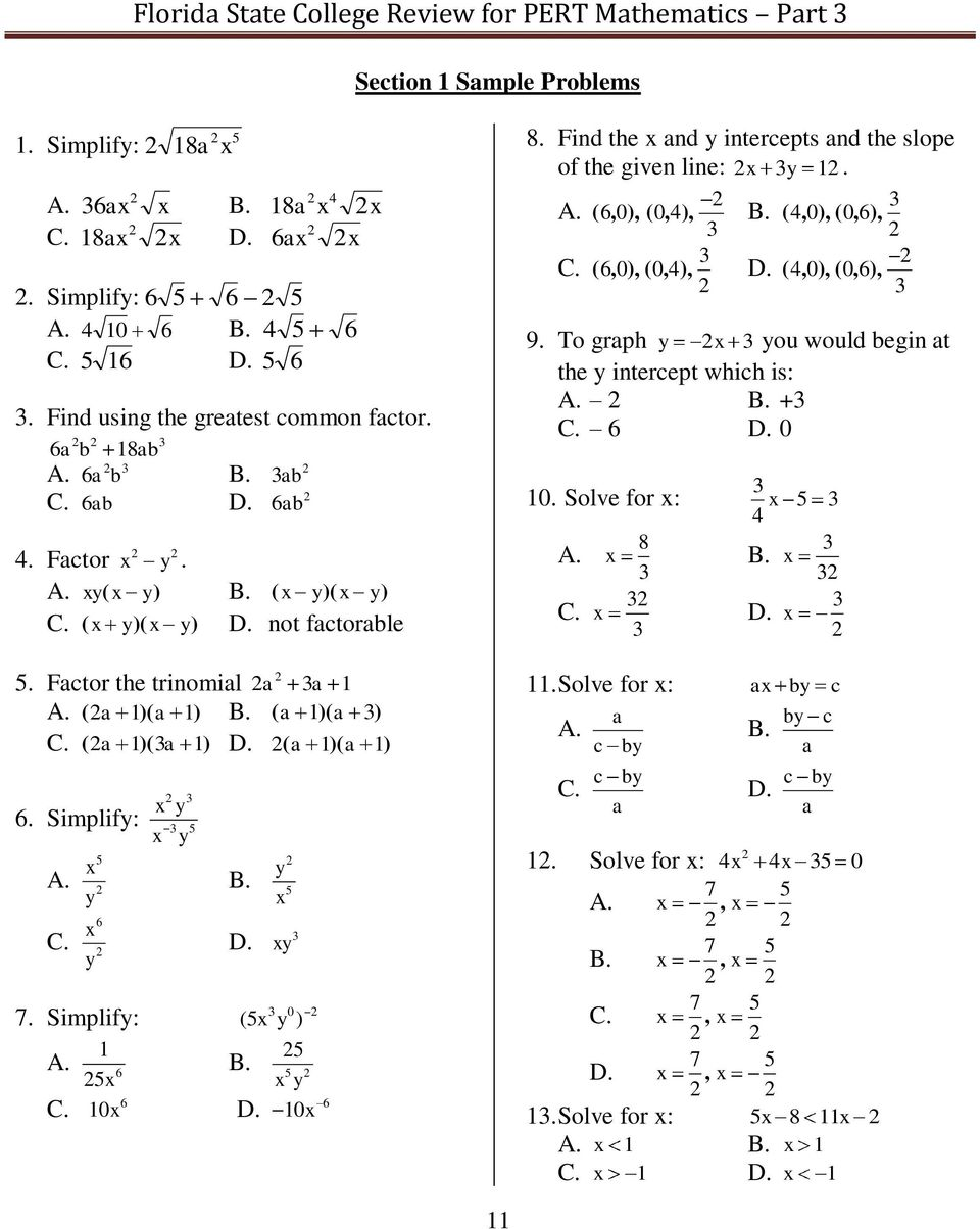 florida state college review for pert math