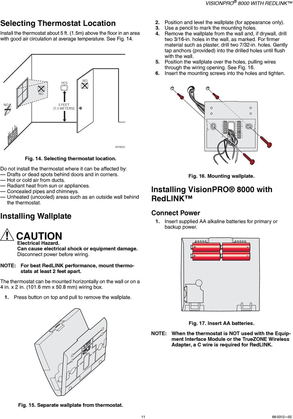 Visionpro 8000 With Redlink Pdf Dry Cell Battery Diagram On Parts Of A Alkaline Holes In The Wall As Marked For Firmer Material Such Plaster Drill