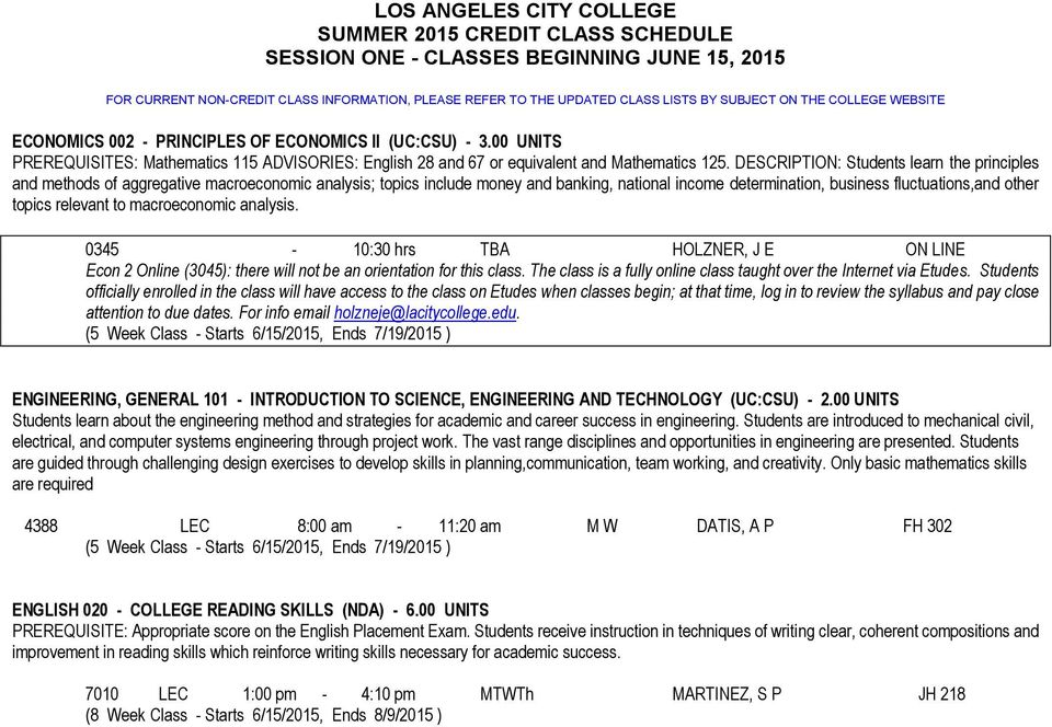 LOS ANGELES CITY COLLEGE SUMMER 2015 CREDIT CLASS SCHEDULE