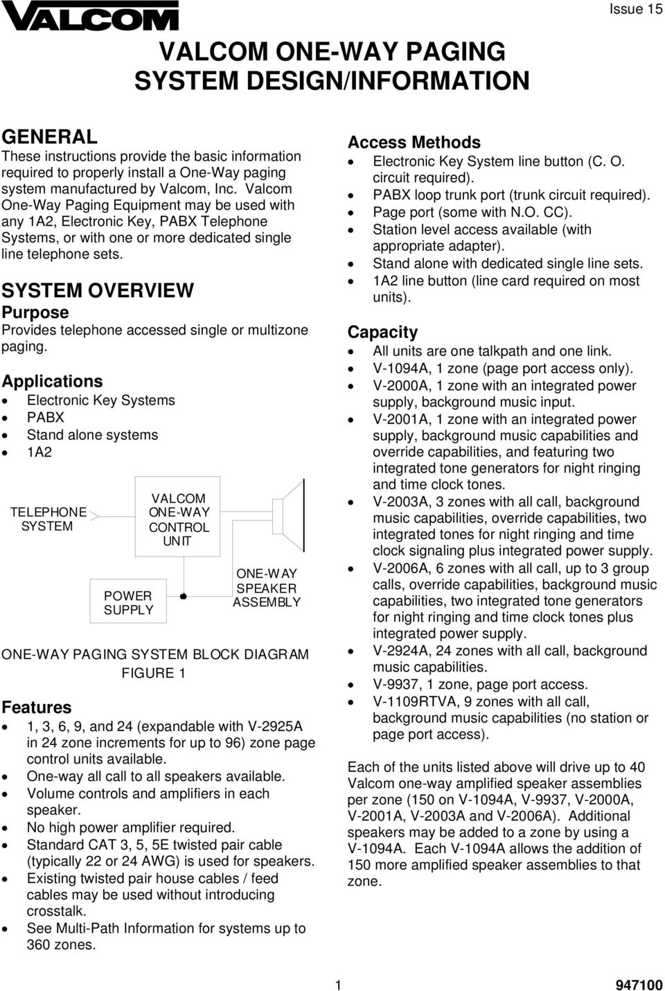 VALCOM ONE-WAY PAGING SYSTEM DESIGN/INFORMATION - PDF Free ... on bogen paging systems, industrial paging systems, cisco phones systems,