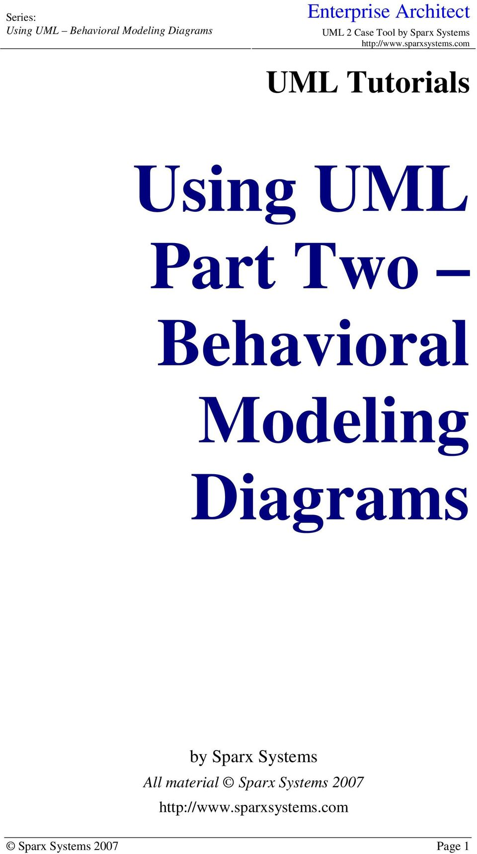 Using Uml Part Two Behavioral Modeling Diagrams Pdf Application Life Cycle Protocol State Machine Diagram Example Sparx Systems All Material
