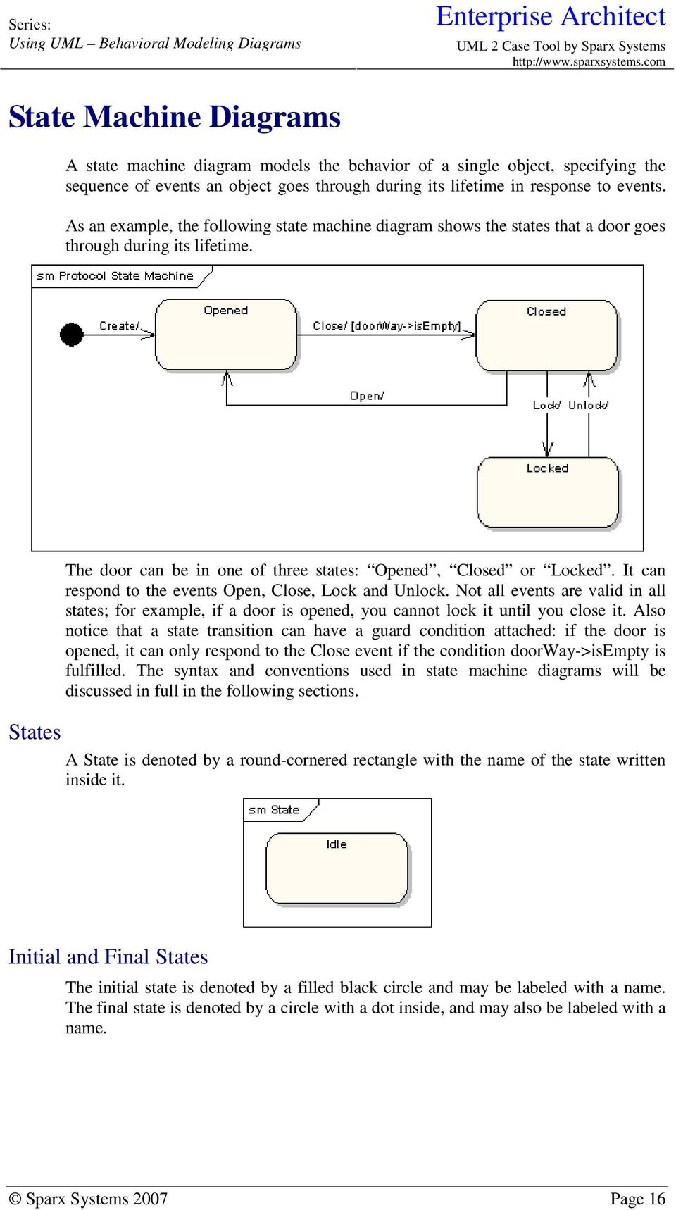 Using Uml Part Two Behavioral Modeling Diagrams Pdf An Example Of State Machine Diagram For A Bank Atm It Can Respond To The Events Open Close Lock And Unlock Not All