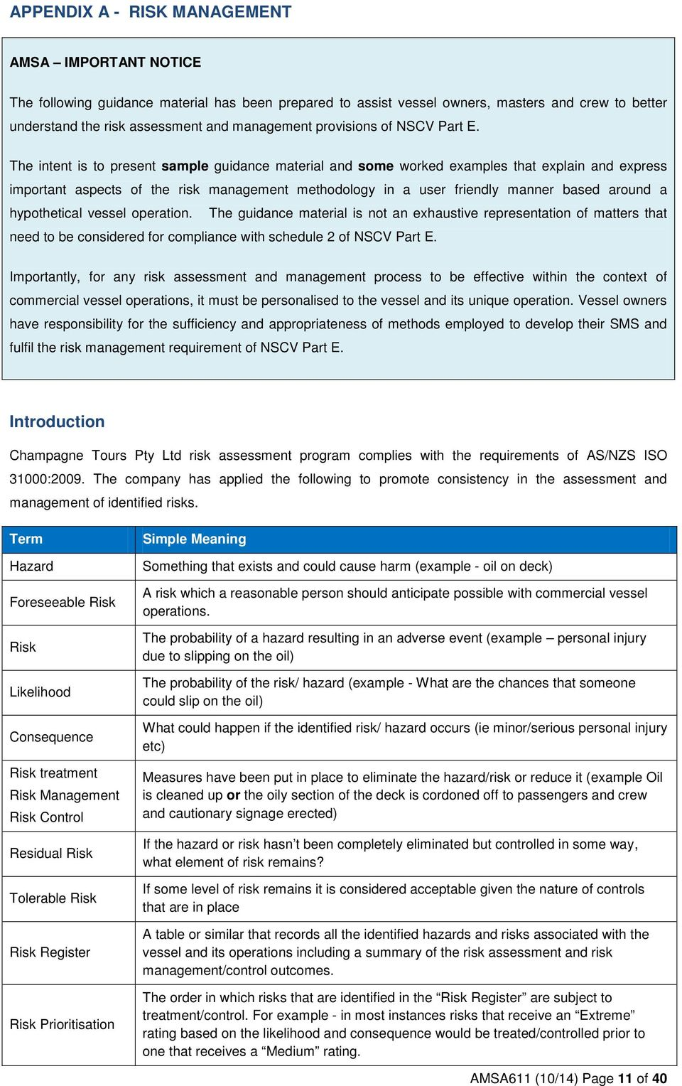 SAMPLE SAFETY MANAGEMENT SYSTEM DOCUMENT  A guide to assist