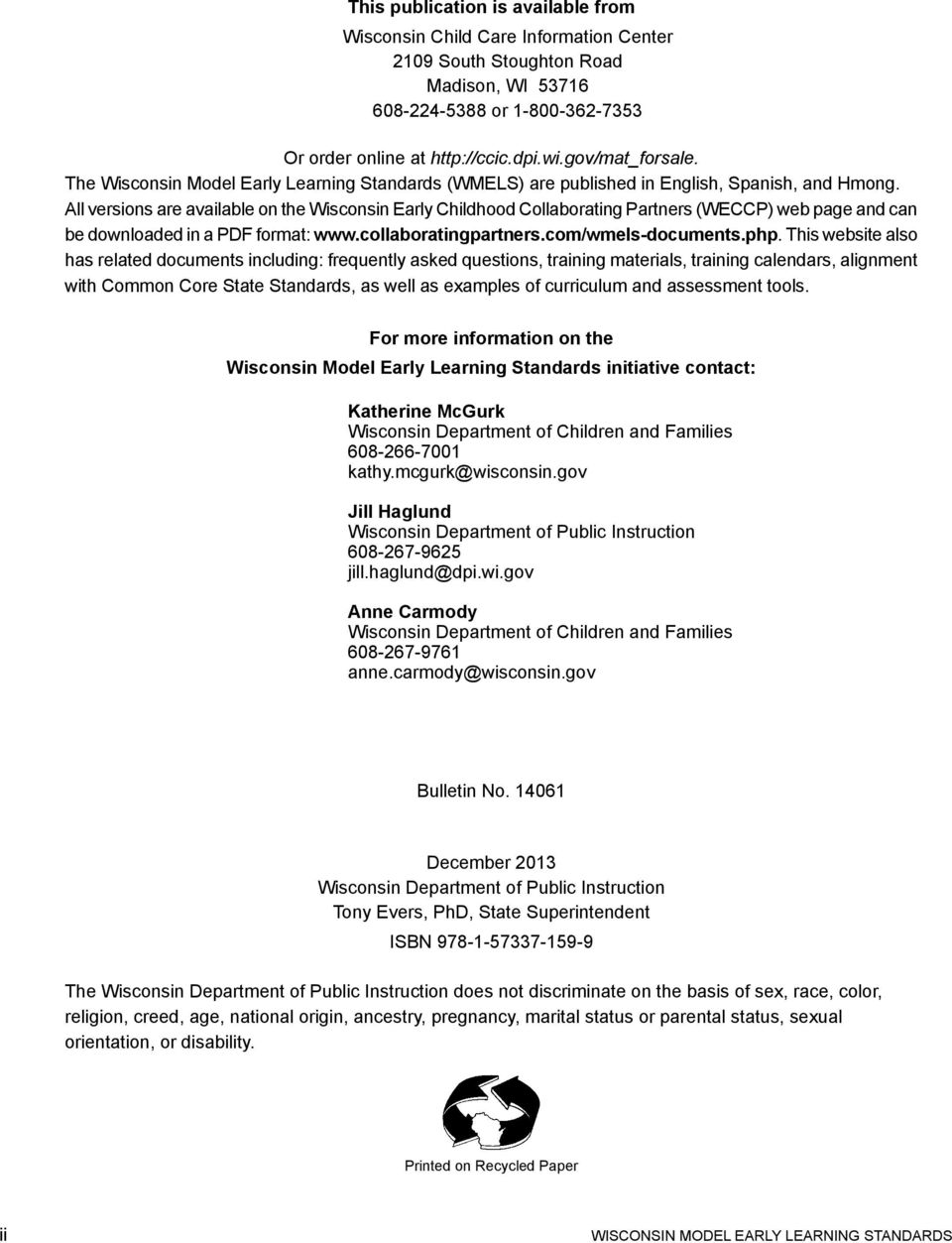 The Wisconsin Model Early Learning Standards Steering Committee - PDF