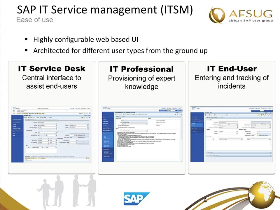 Service Desk Central interface to assist end-users IT Professional