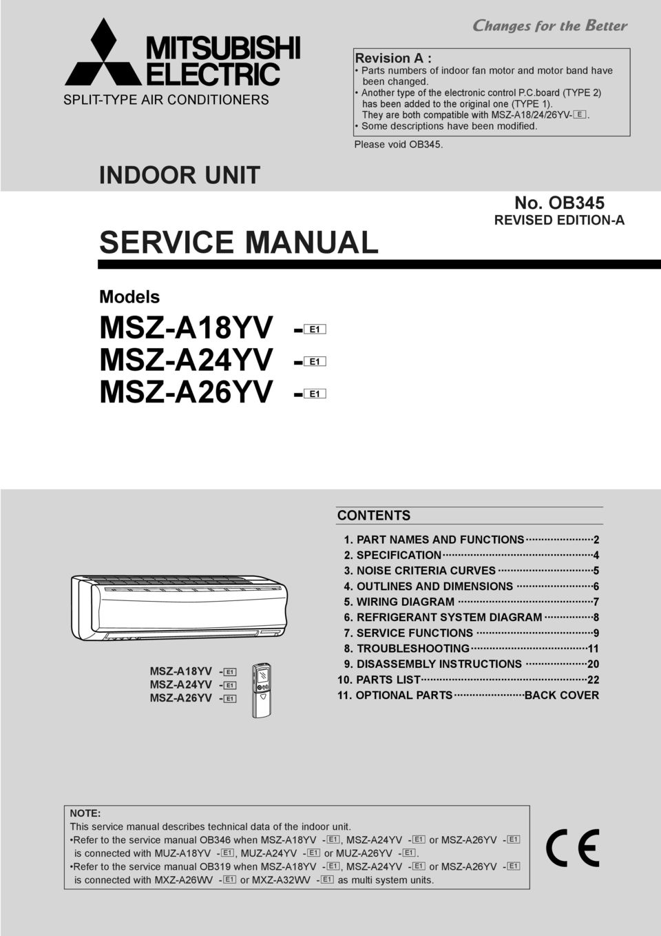 service manual msz a18yv e1 msz a24yv msz a24yv e1 indoor unit rh docplayer net