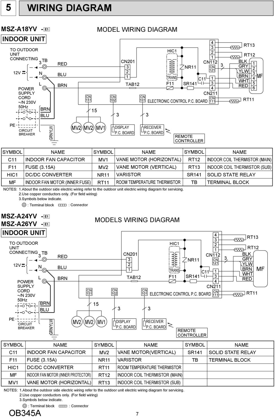 Service Manual Msz A18yv E1 A24yv Indoor Unit Terminal Blocks Electrical Wiring Diagram About The Outdoor Side Electric Refer To For Servicing