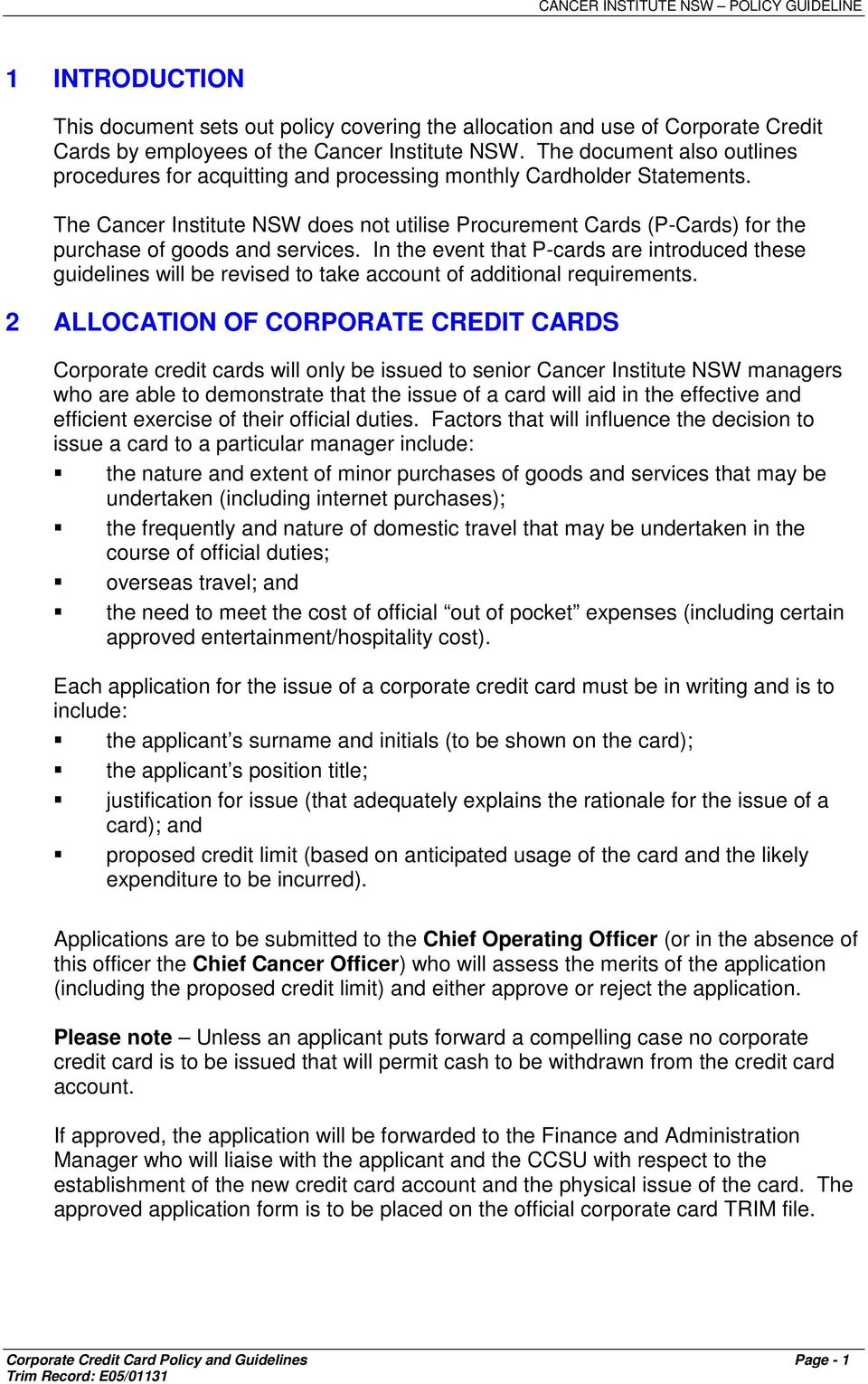 Corporate credit card policy guidelines pdf the cancer institute nsw does not utilise procurement cards p cards for the reheart Image collections