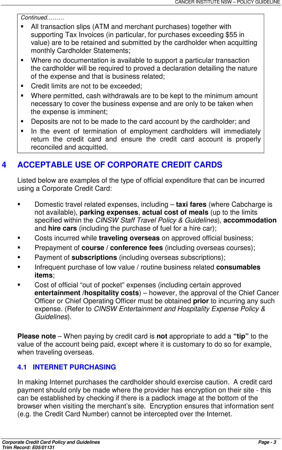 Corporate Credit Card Policy Example