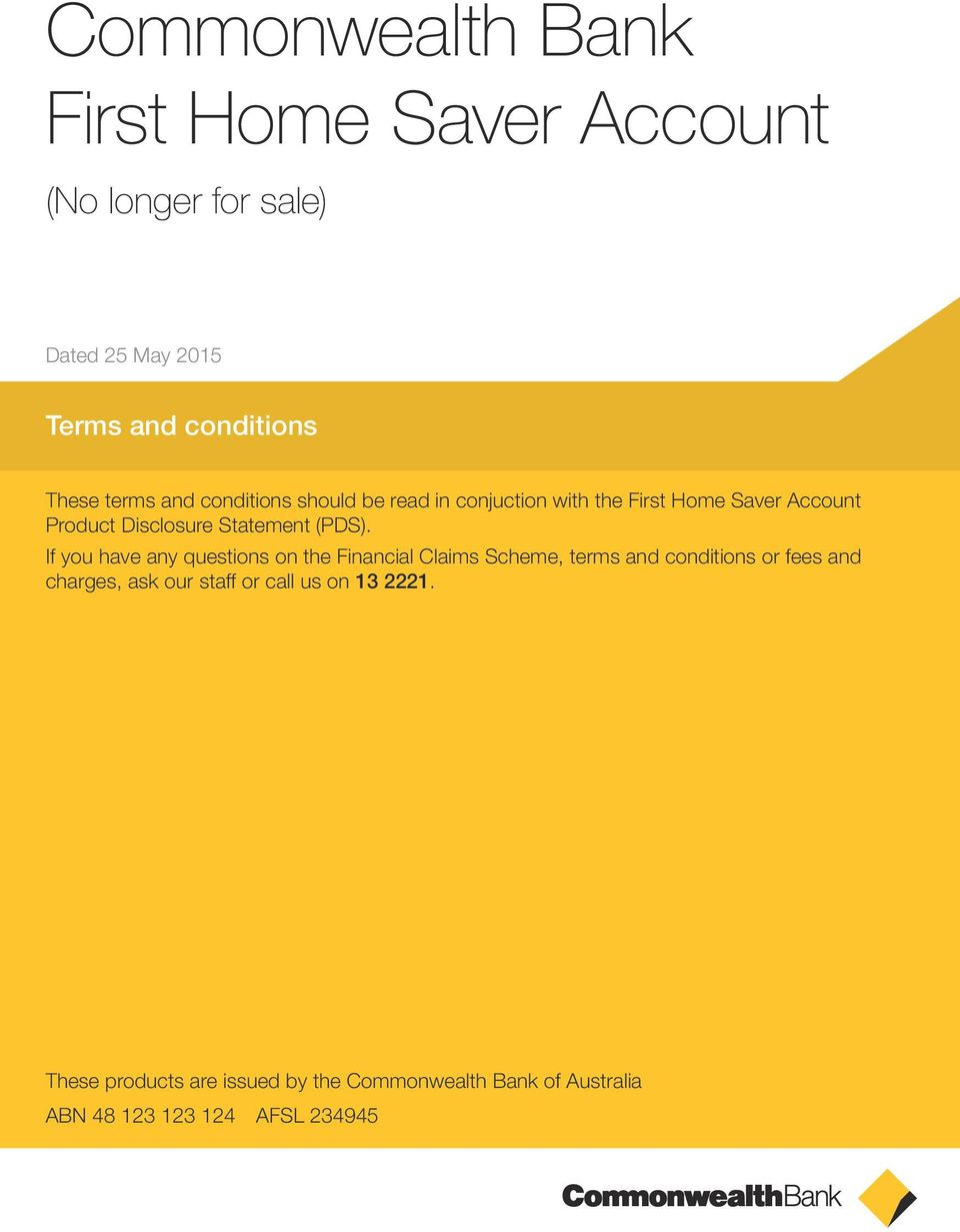 Commonwealth Bank First Home Saver Account - PDF