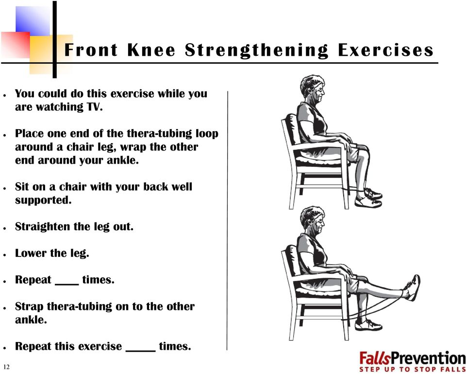 ankle. Sit on a chair with your back well supported. Straighten the leg out.