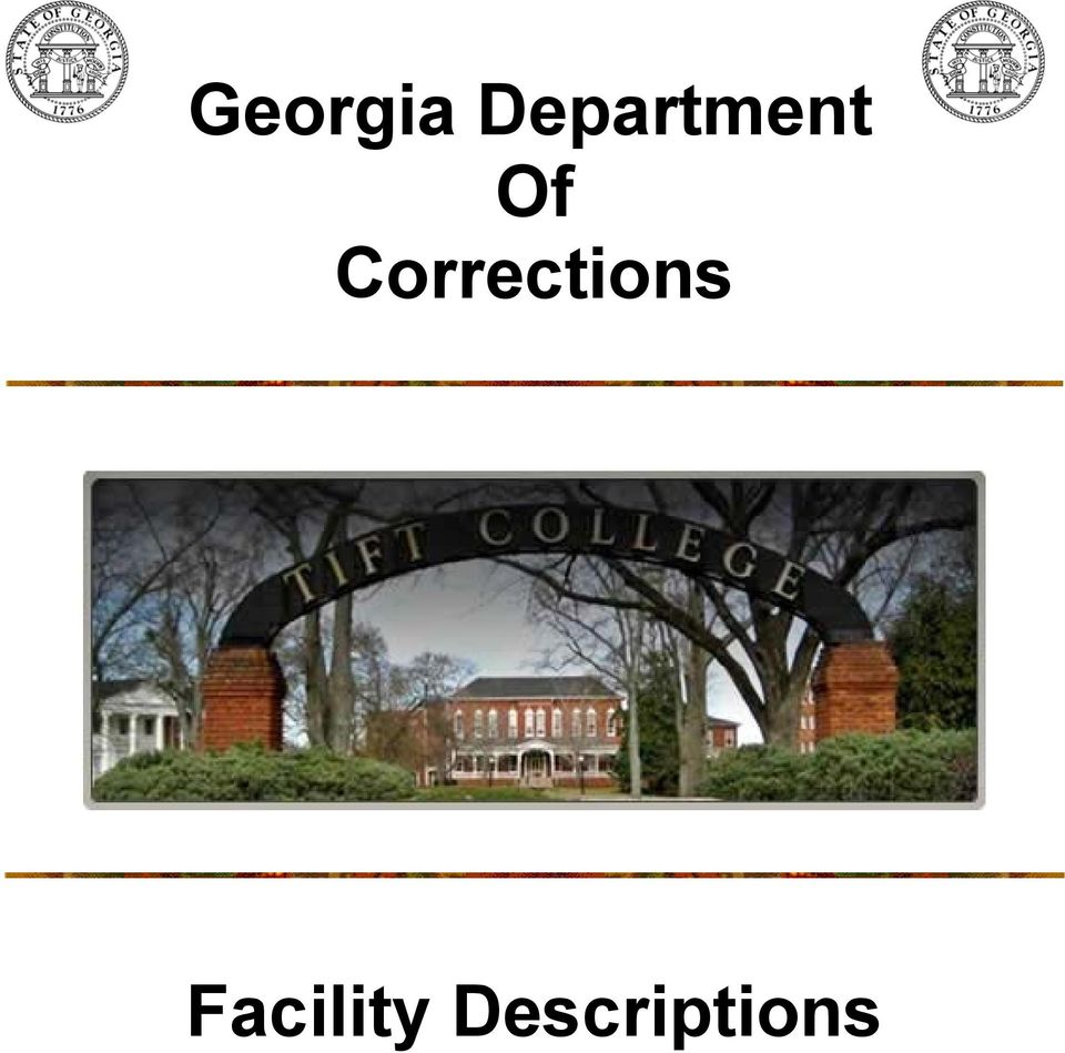 Georgia Department Of Corrections  Facility Descriptions - PDF