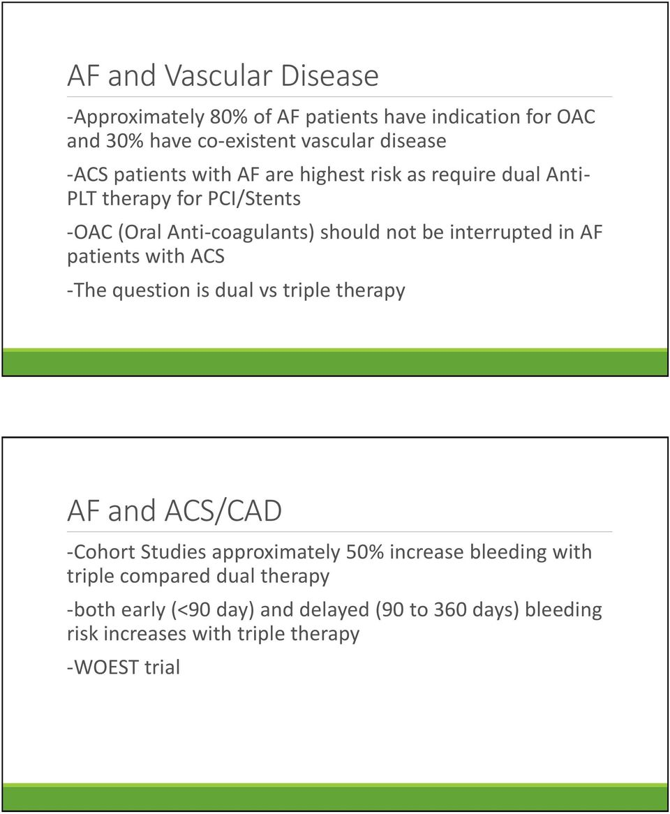 interrupted in AF patients with ACS -The question is dual vs triple therapy AF and ACS/CAD -Cohort Studies approximately 50% increase