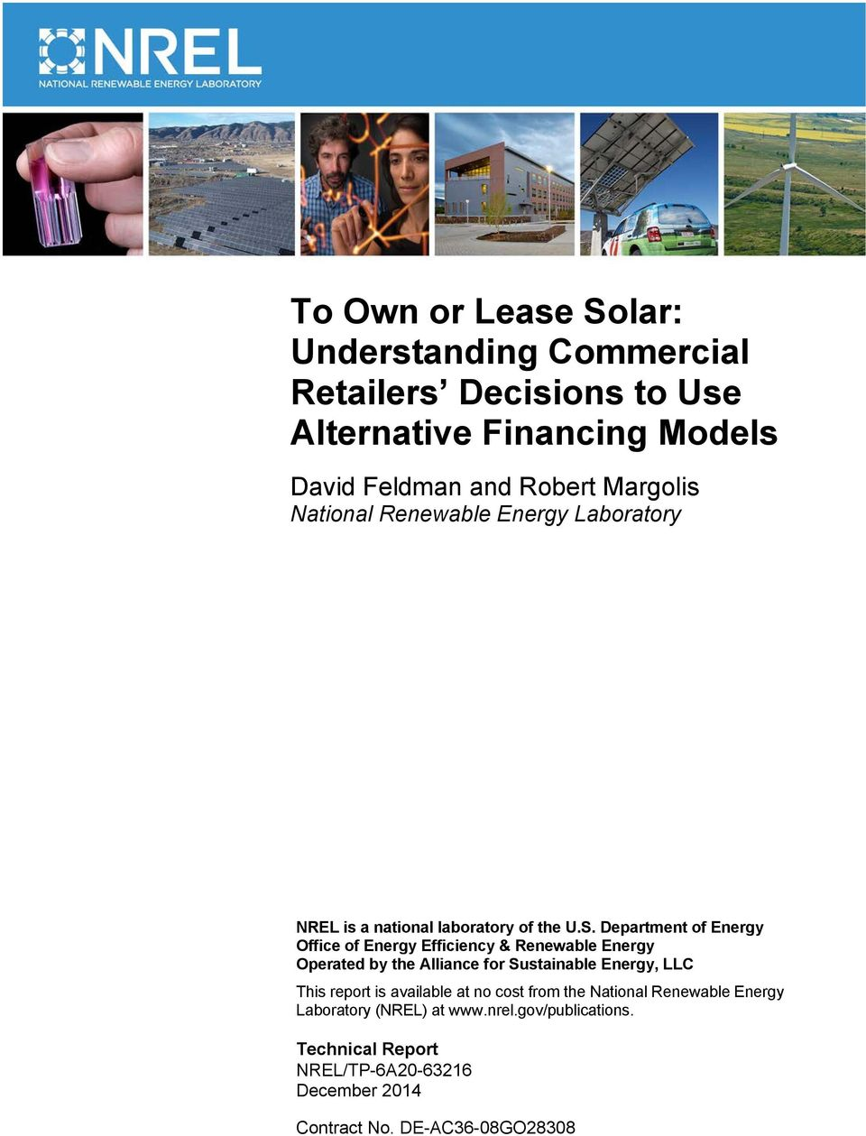 Department of Energy Office of Energy Efficiency & Renewable Energy Operated by the Alliance for Sustainable Energy, LLC This report