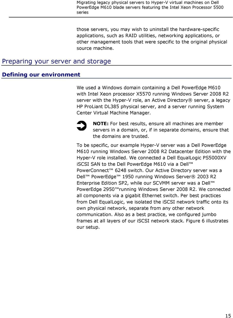 We used a Windows domain containing a Dell PowerEdge M610 with Intel Xeon processor X5570 running Windows Server 2008 R2 server with the Hyper-V role, an Active Directory server, a legacy HP ProLiant