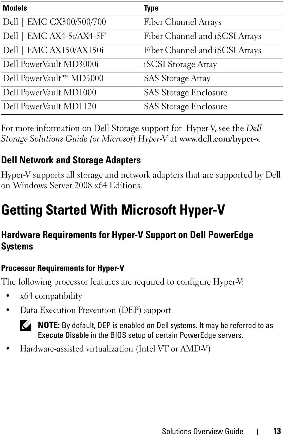 the Dell Storage Solutions Guide for Microsoft Hyper-V at www.dell.com/hyper-v.