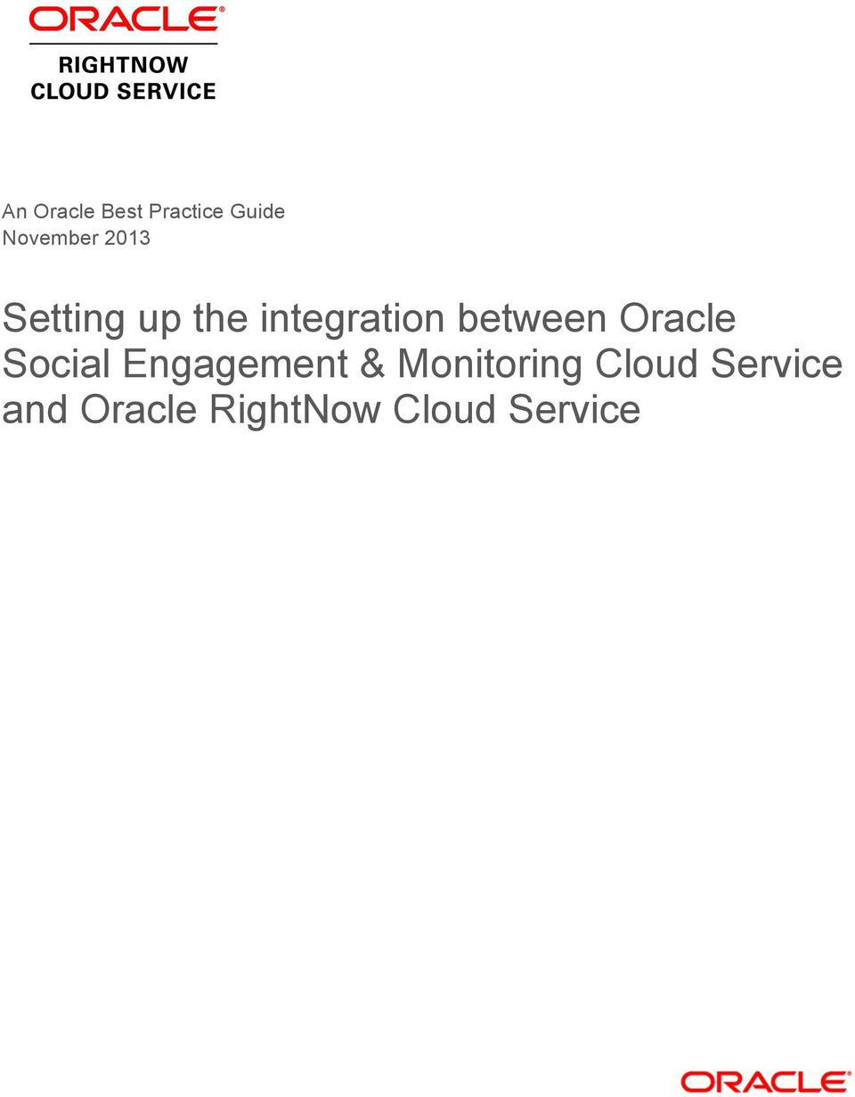 Oracle Social Engagement & Monitoring