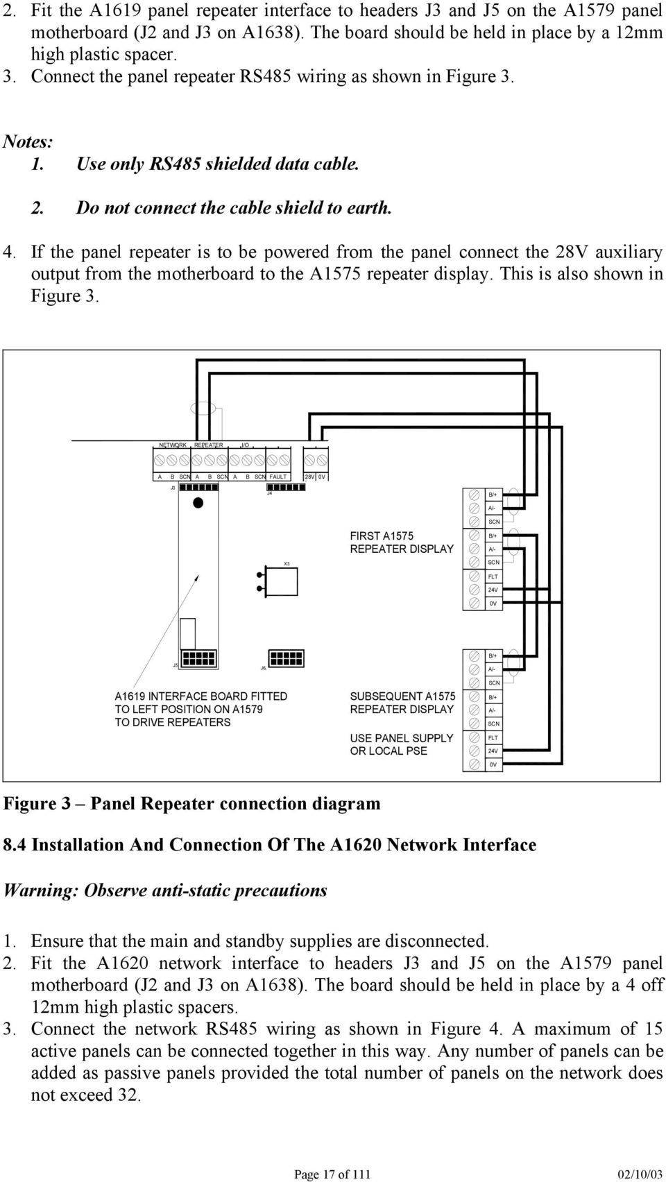 Zeta Alarm Systems Premier Al Manual Pdf Fire Wiring Diagram For A B If The Panel Repeater Is To Be Powered From Connect 28v Auxiliary Output