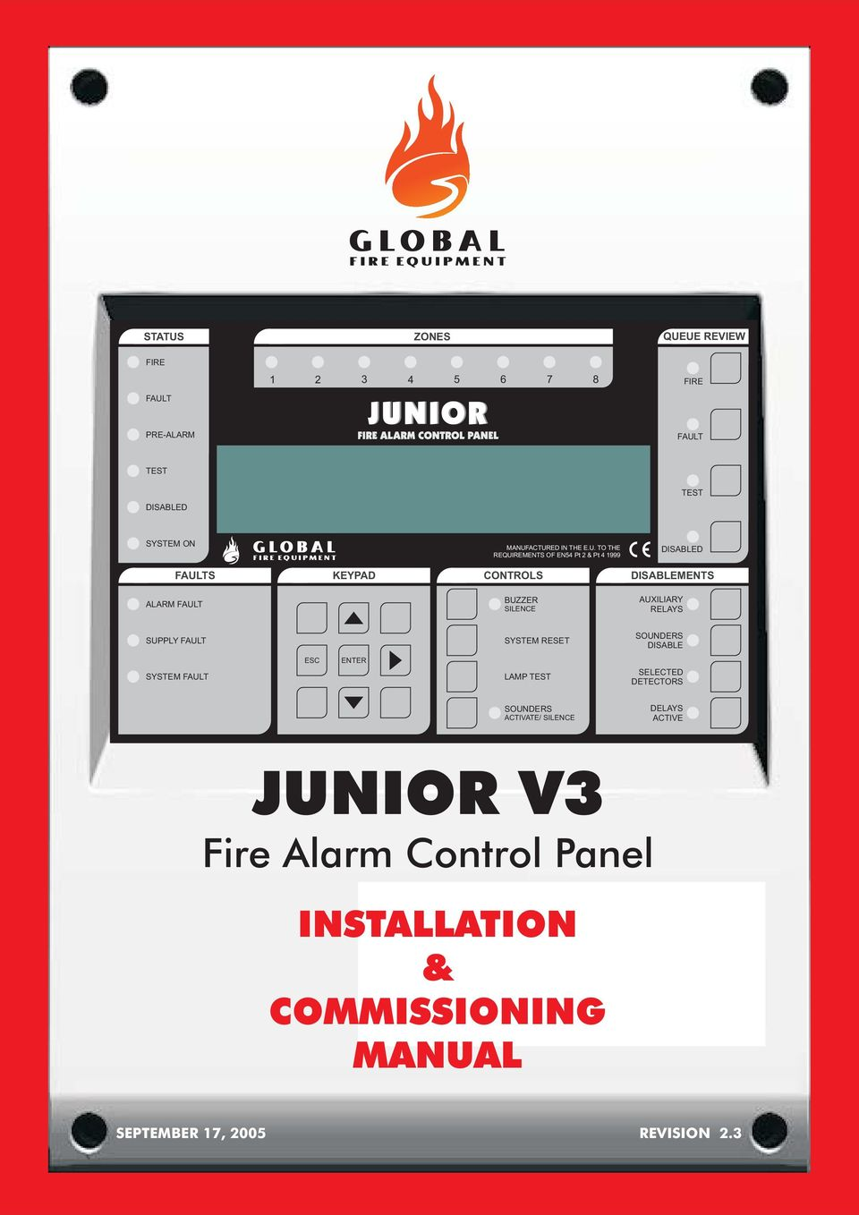 JUNIOR V3. Fire Alarm Control Panel INSTALLATION & COMMISSIONING ...