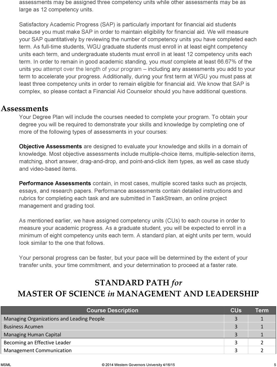 Master of Science, Management and Leadership - PDF