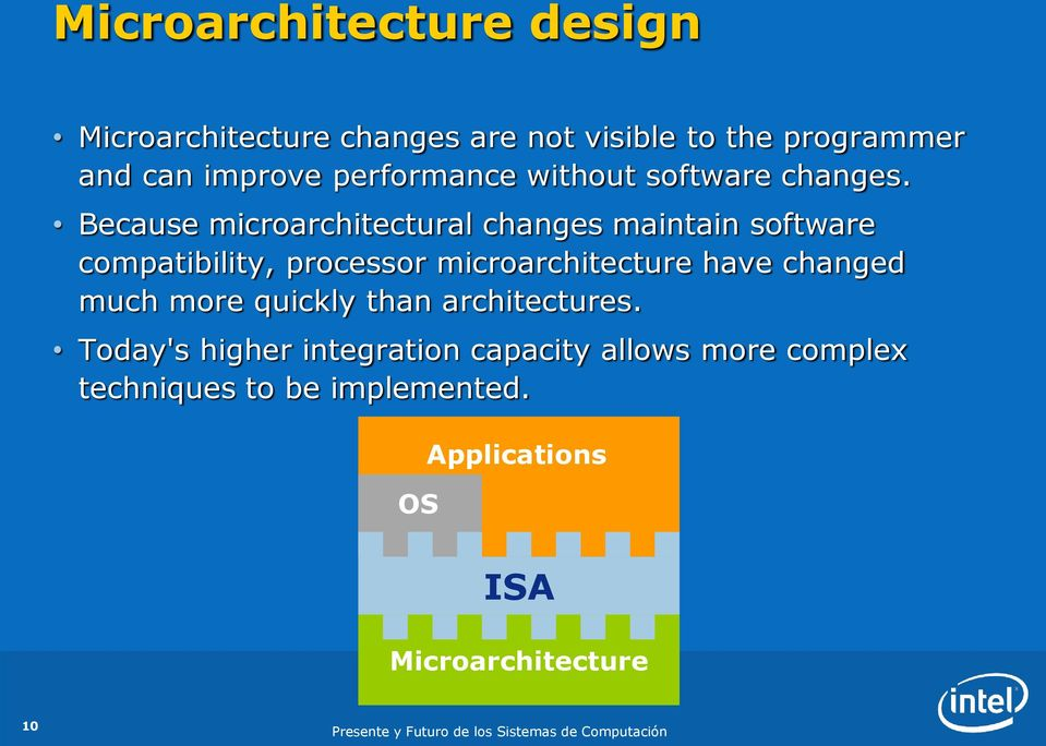 Because microarchitectural changes maintain software compatibility, processor microarchitecture have