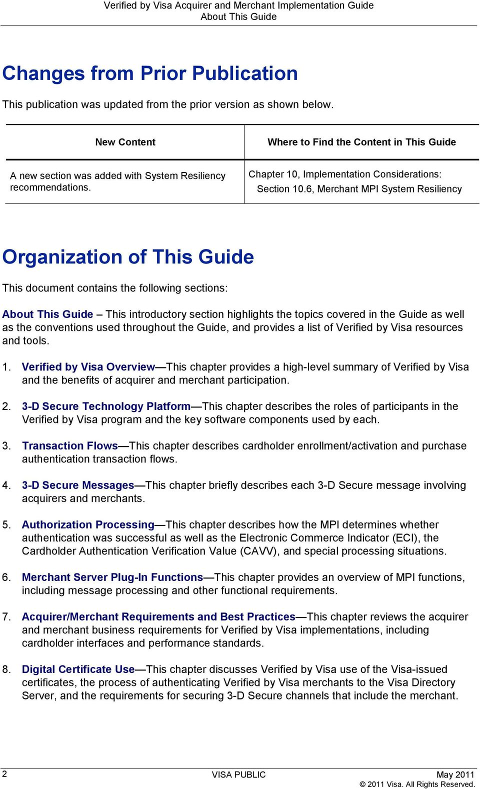 Verified by Visa  Acquirer and Merchant Implementation Guide