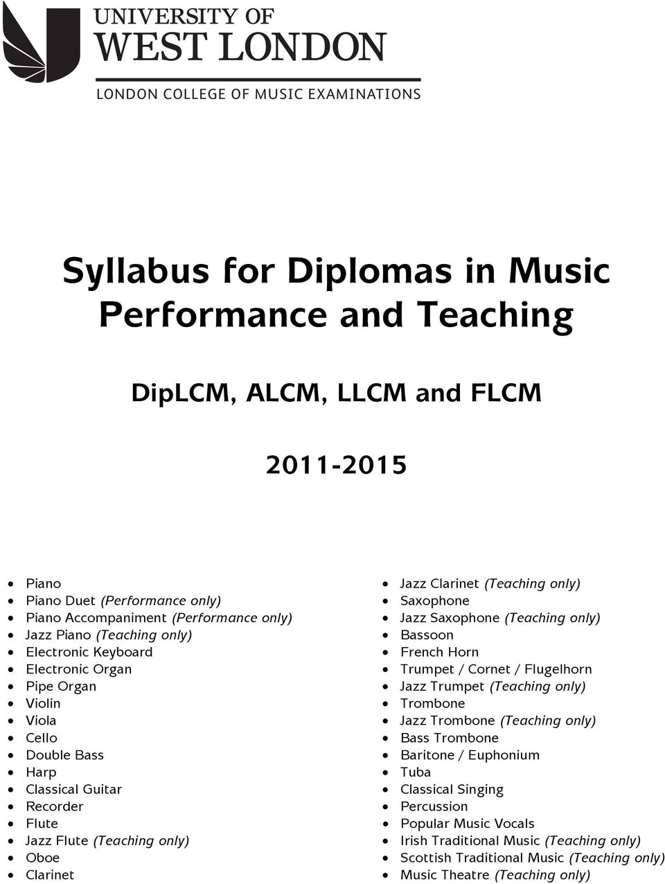 Music Performance and Teaching Diplomas Syllabus - PDF